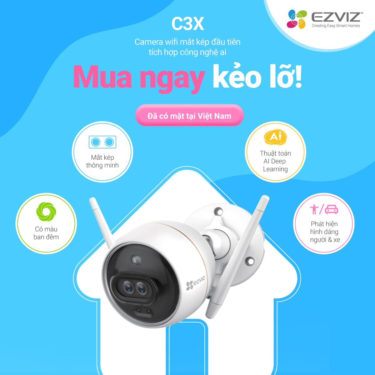 Camera Wifi EZVIZ C3X 1080P 2.0MP FullHD - Camera thông minh ngoài trời