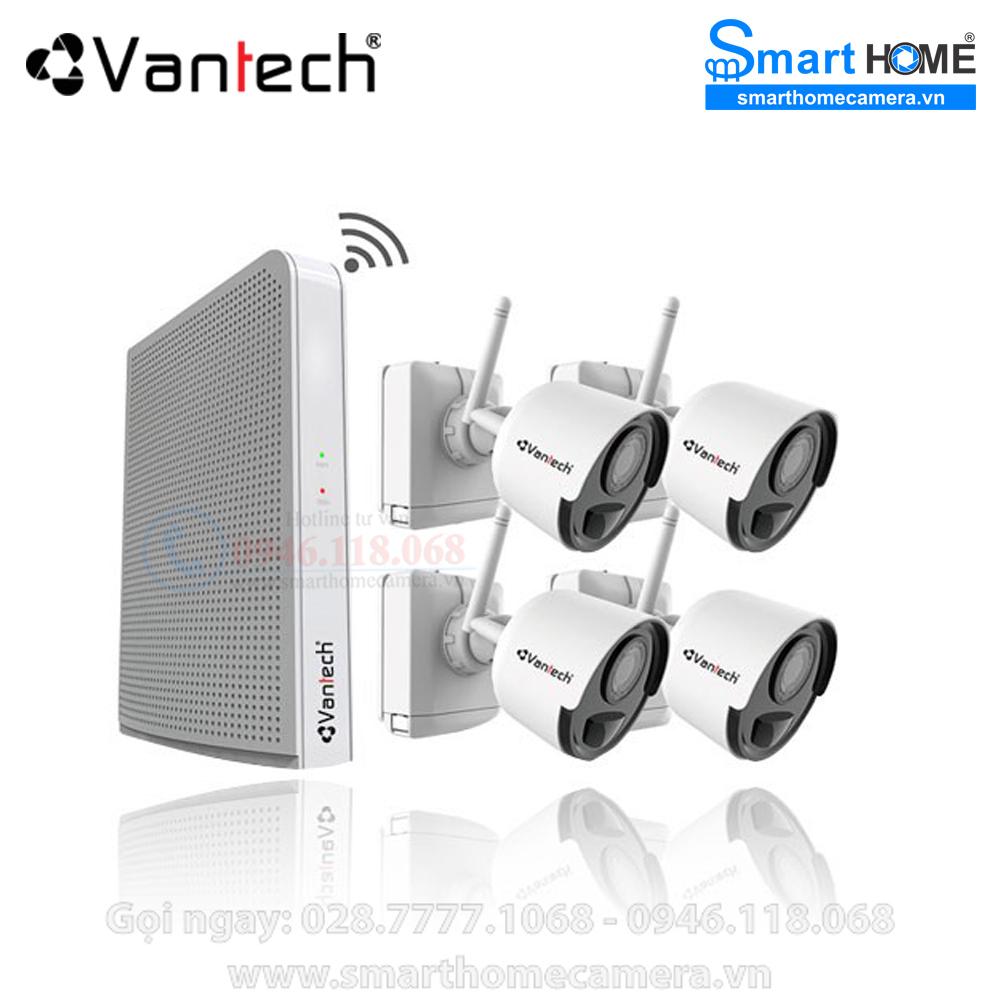 Camera Vantech VPH-B046PIR - Bộ Kit không dây Vantech 1080P 4 kênh VPH-B046PIR
