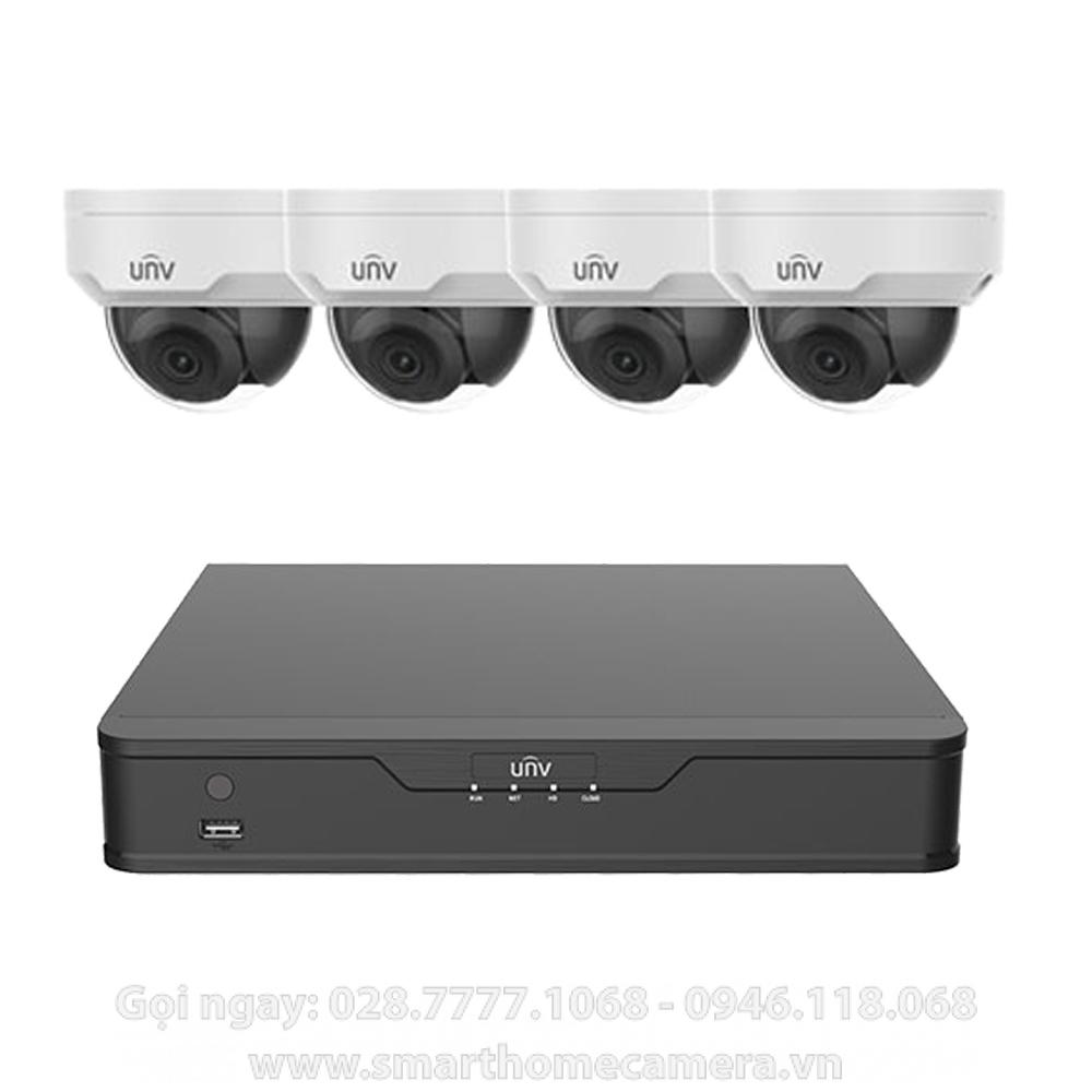 Trọn bộ 4 Camera UNV IP Dome 3.0Mp (Cao cấp)