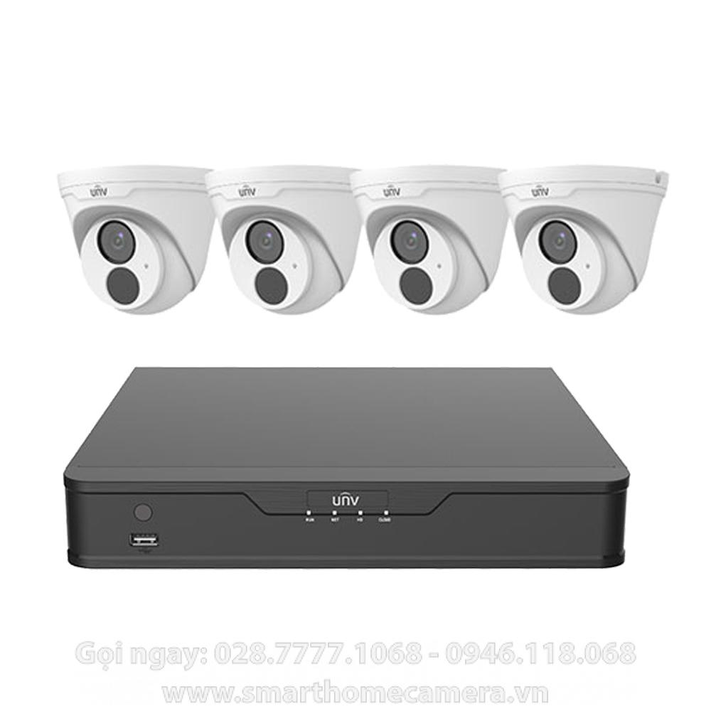 Trọn bộ 4 Camera UNV IP Dome 3.0Mp có Mic ghi âm (Cao cấp)
