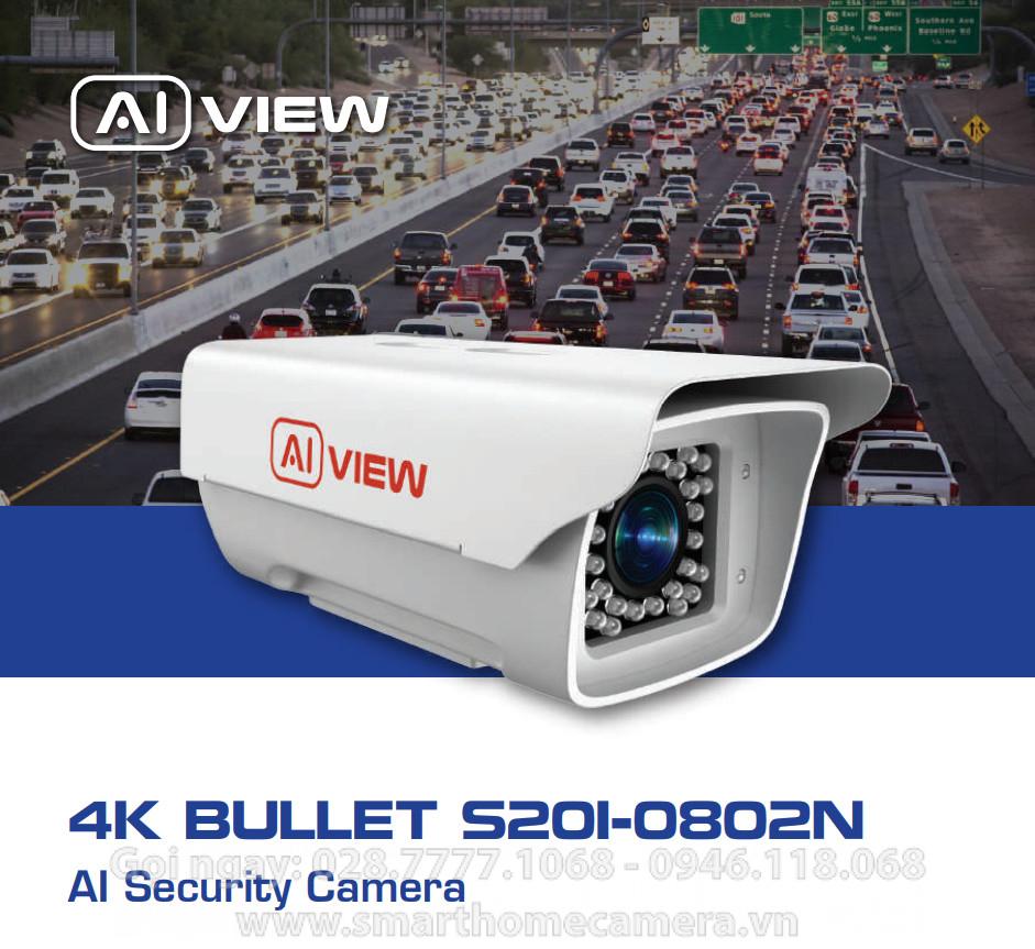 Camera AI View S201-0802N BKAV - BULLET ZOOM 2x - 8MP 4K