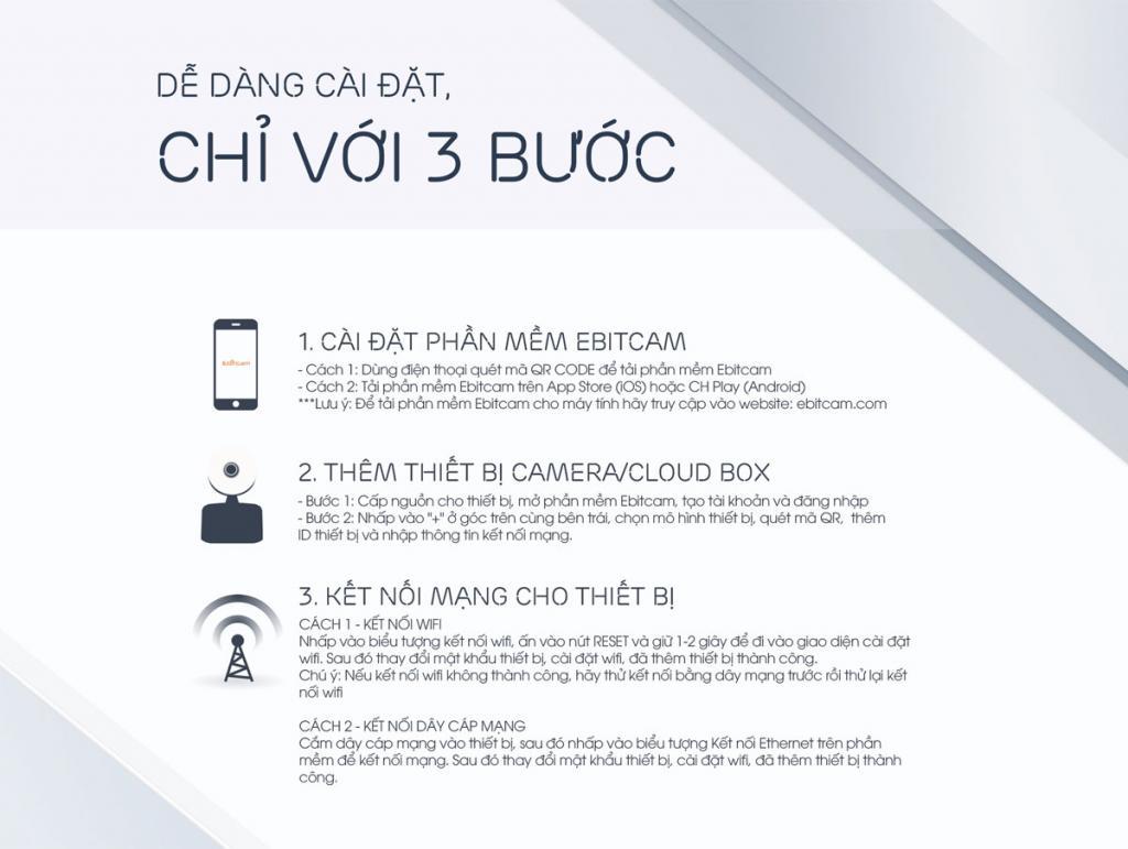 Camera Ebitcam IP Wifi E3 - 3.0M (Trong nhà)
